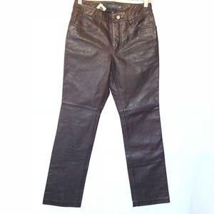 NWT Gap Leather Boot Cut Pants Reddish Brown 2